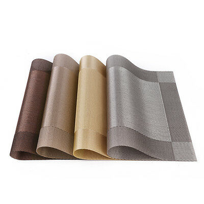 Set 4 PVC Dining Room Weave Woven Placemats Table Heat Insulation Place Mats