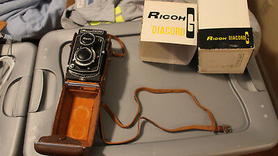 Vintage Antique Ricoh Diacord G TLR Camera With Original Box & Leather Case