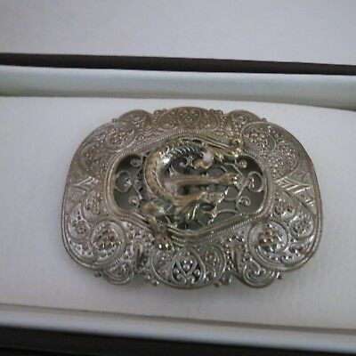 Fabulous silver plate French belt buckle with dragon c 1930s