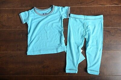 KICKEE PANTS Toddler baby Pajama Set Short Sleeve 2 Piece Blue Gray 12-18 Months