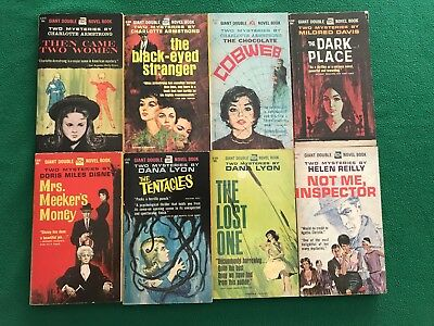 Lot of 6 Vintage Ace Giant Double Mysteries Paperbacks Armstrong Reilly Disney +