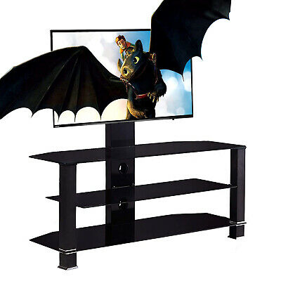 "Tempered Glass TV Stand Cantilever w// Swivel Wall Bracket 32-55/"" Plasma LCD LED"