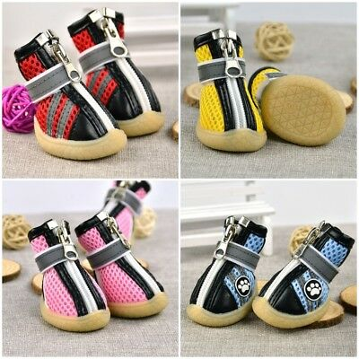 4Pcs Pet Shoes Summer Mesh Anti Skid Dog Booties Puppy Casual Sneaker Boots AU