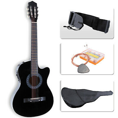 "38"" Full Size Electric Acoustic Guitar Cutaway Design w/ Guitar Case,Strap,Tuner"