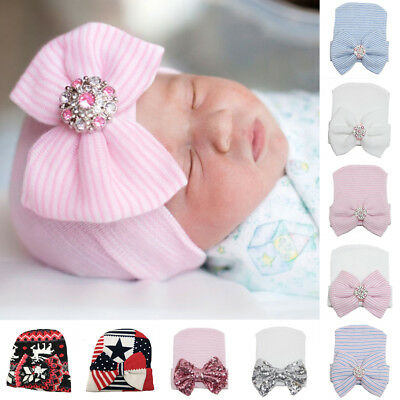 1xSoft Baby Girl Infant child Striped Hat With Bow Cap Newborn Beanie Diomand UK