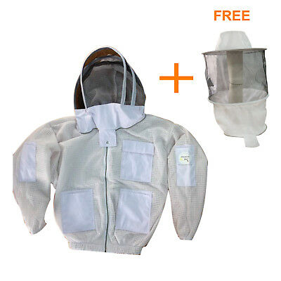 3 Layer beekeeping jacket bee ventilated protective Fancing veil free Round Veil