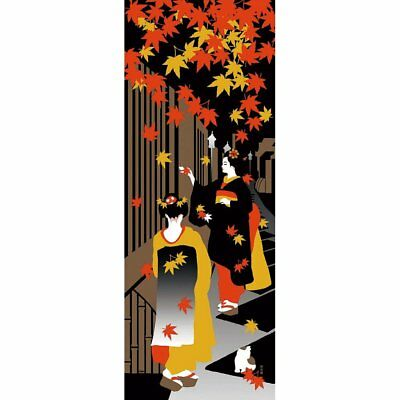 HAMAMONYO Picture Tenugui 'Apprentice Geisha in Autumn' (Japanese Hand Towel)