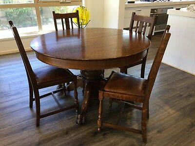 Antique American Solid Oak Claw Foot Round Dining Table & English Oak Chairs