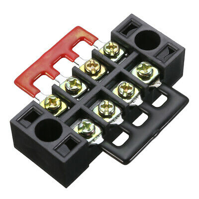 600V 15A 4 Position Dual Row Screw Wire Conector Barrier Terminal Block 2 Strip