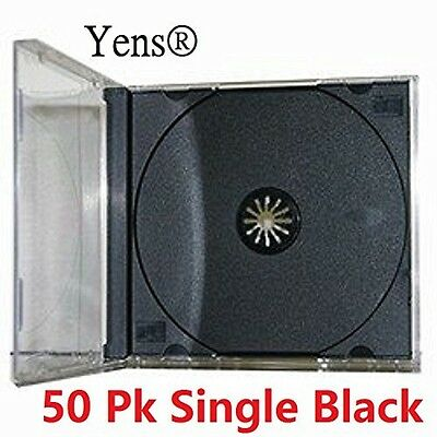 Yens Standard CD Jewel Case Assembled, Black, 50 Piece