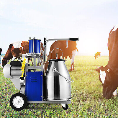 Electric Milking Machine For Farm Cows W/Bucket Adjustable 12Cows/hour Milker