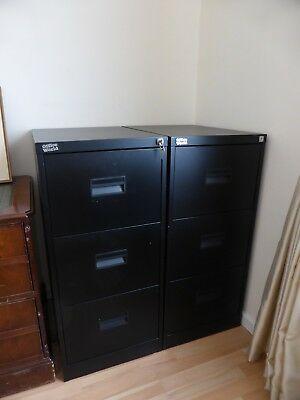 Set Of Two Office World Black 3 Drawer Metal Filing Cabinets In Good Condition