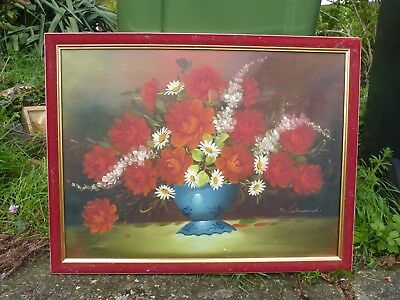 large oil painting of red and white flowers in a vase by Edwards