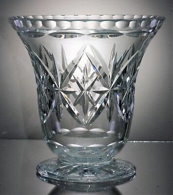Squat Lead Crystal Cut Glass Footed Vase, with a Wide Trumpet Bowl - 15 cm