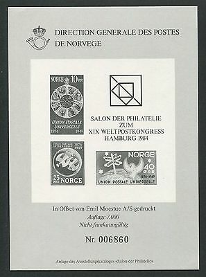 NORWAY OFFICIAL SHEET UPU CONGRESS 1984 ONLY 7.000 FOR DELEGATES !! RARE!! h0068