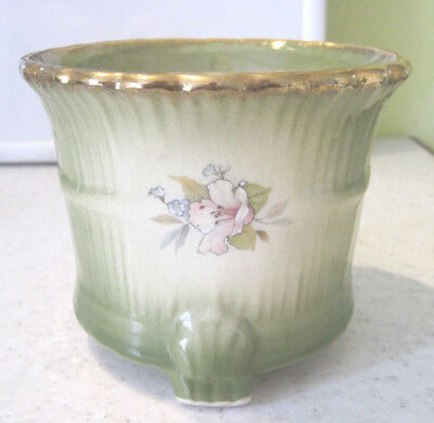 Pretty Vintage Staffordshire Ironstone Planter Floral Pottery Green And Gold