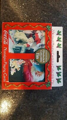 1996 NOSTALGIA COCA COLA PLAYING CARDS TWO DECKS limited edition collectible tin