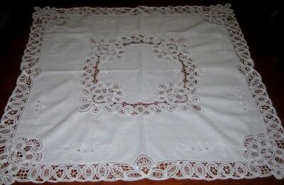 Vintage Battenburg Lace Supper Cloth ~ Cotton ~ White ~ Square