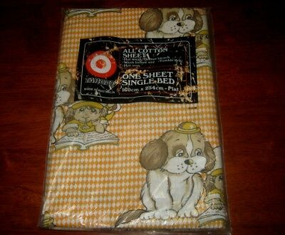 Vintage Flat Sheet~Single Bed~Child & Dog Design~Orange & White~Cotton~New