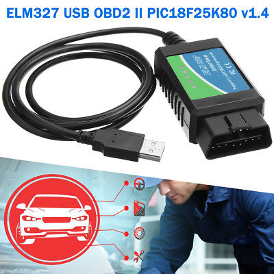 ELM327 USB Interface OBD2 OBD-II Car Diagnostic Scanner Cable Scan Tool v1.4