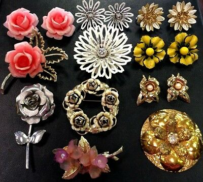 Vintage Jewelry Lot Flower Enamel Sarah Coventry Pin Earring brooch Sets