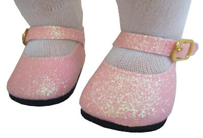 """For 15"""" American Girl BITTY BABY Doll Clothes Pink Glitter Shoes Accessories"""