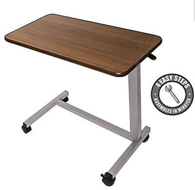 Overbed Table Over The Bed Hospital Tray Adjustable Breakfast Rolling Medical