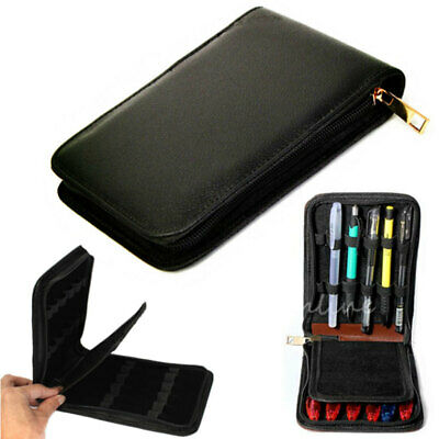 Black Genuine Soft Leather 12 Pens Cases Holder Pouch Stationery New Brand
