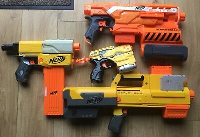 NERF GUN BUNDLE - DEPLOY-CS 5 Recon Cos-5 Elite Demolished 2in1 &PISTOLS