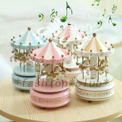 Girl Musical Box Wind Up Wooden Horse Roundabout Carousel Decor Gift 5 Colors UK