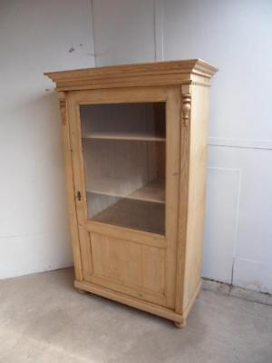 A Lovely Late Victorian Antique/Old Pine Glazed Display Cabinet/DresserWax/Paint