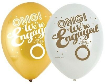 "6 x OMG Were Engaged 11"" Latex Balloons Helium Engagement Party Decoration Decor"