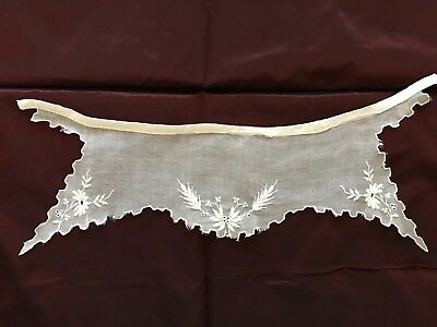 """Vintage VEIL COLLAR with beautiful Floral EMBROIDERY - 13"""" by 4"""""""