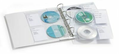 Durable CD/DVD A4 Punched Pocket Wallet for 4 Discs and Labels -Pack of 5