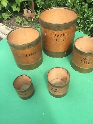 Antique wooden treen grain measures Set
