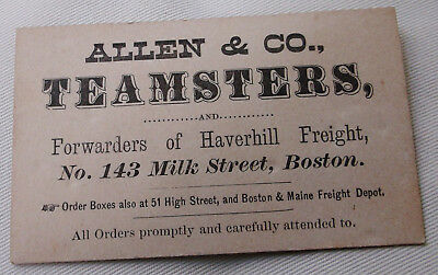 Antique Cw Era Business Card For Allen & Co. Teamsters Haverhill Freight Boston