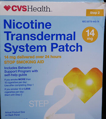 CVS Health Nicotine Transdermal System Patch,14mg.14 Patches,Step 2. EXP. 6/2018
