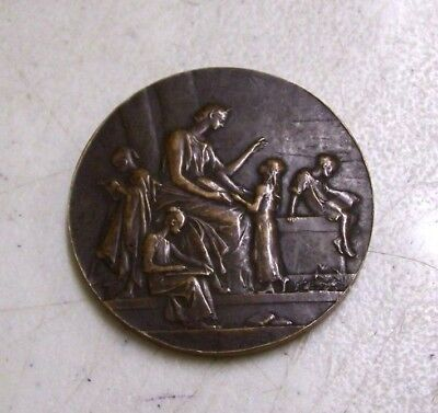 Antique Alliance Francaise Bronze Medal Medallion by Daniel Dupuis