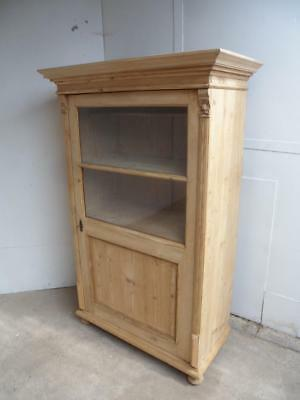 A Fantastic Late Victorian Antique/Old Pine Glazed Display Cabinet to Wax/Paint
