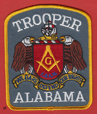 Alabama Trooper Mason Masonic Police Shoulder Patch