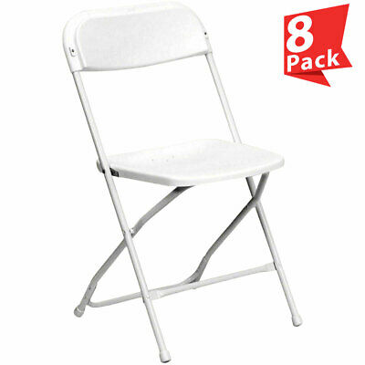 8-Pack White Plastic Folding Chair TentAndTable Commercial Wedding Party Chairs