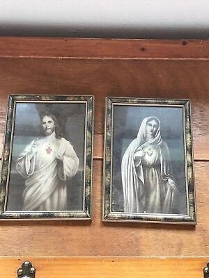Vintage Pair of Mary & Jesus Sepia Prints w Red Heart in Wood Frames Under Glass