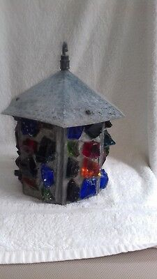 Antique arts & crafts vintage Peter Marsh porch light lantern Iron Glass Rock