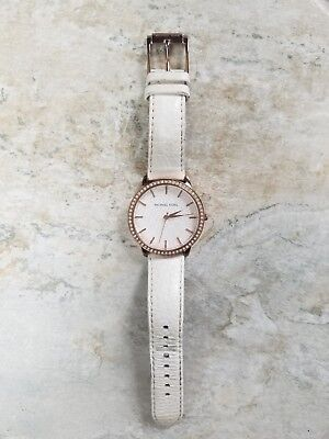Women's MICHAEL KORS MK-2223 watch, ivory leather band, rose gold detailing