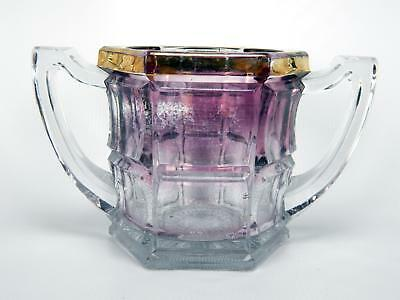 Antique EAPG Northwood Amethyst Purple Flash Paneled Glass Spooner Dbl Handled