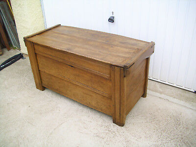 Antique 18th Century Oak Coffer Marriage Dowry Chest Wooden Hinges
