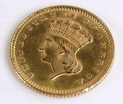 Almost Uncirculated 1873 Type 2 Indian Head 1 Dollar Gold Coin Free S/h #9601
