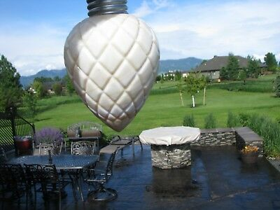 Flat Quilt Pattern White Milk Glass w/Caramel Swirls Lightning Rod Ball Pendant