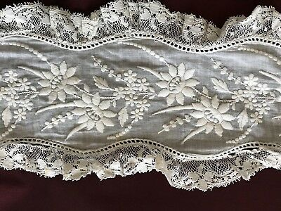 Gorgeous Lot of ANTIQUE 1830'S Handmade embroidery edgings & insertions - CRAFT