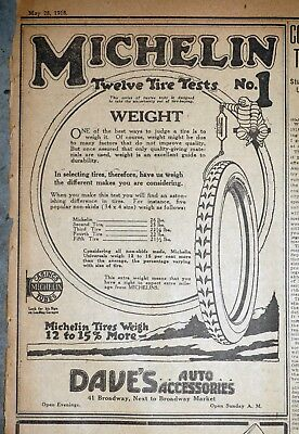Michelin Twelve Tire Tests #1 Weight - 1918 Detroit Newspaper Page